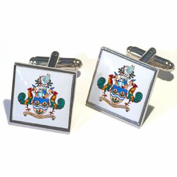 Cufflink Pair Square 18mm silver ready to wear, boxed